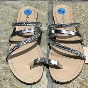 NEW, Mariella, silver leather bling sandals